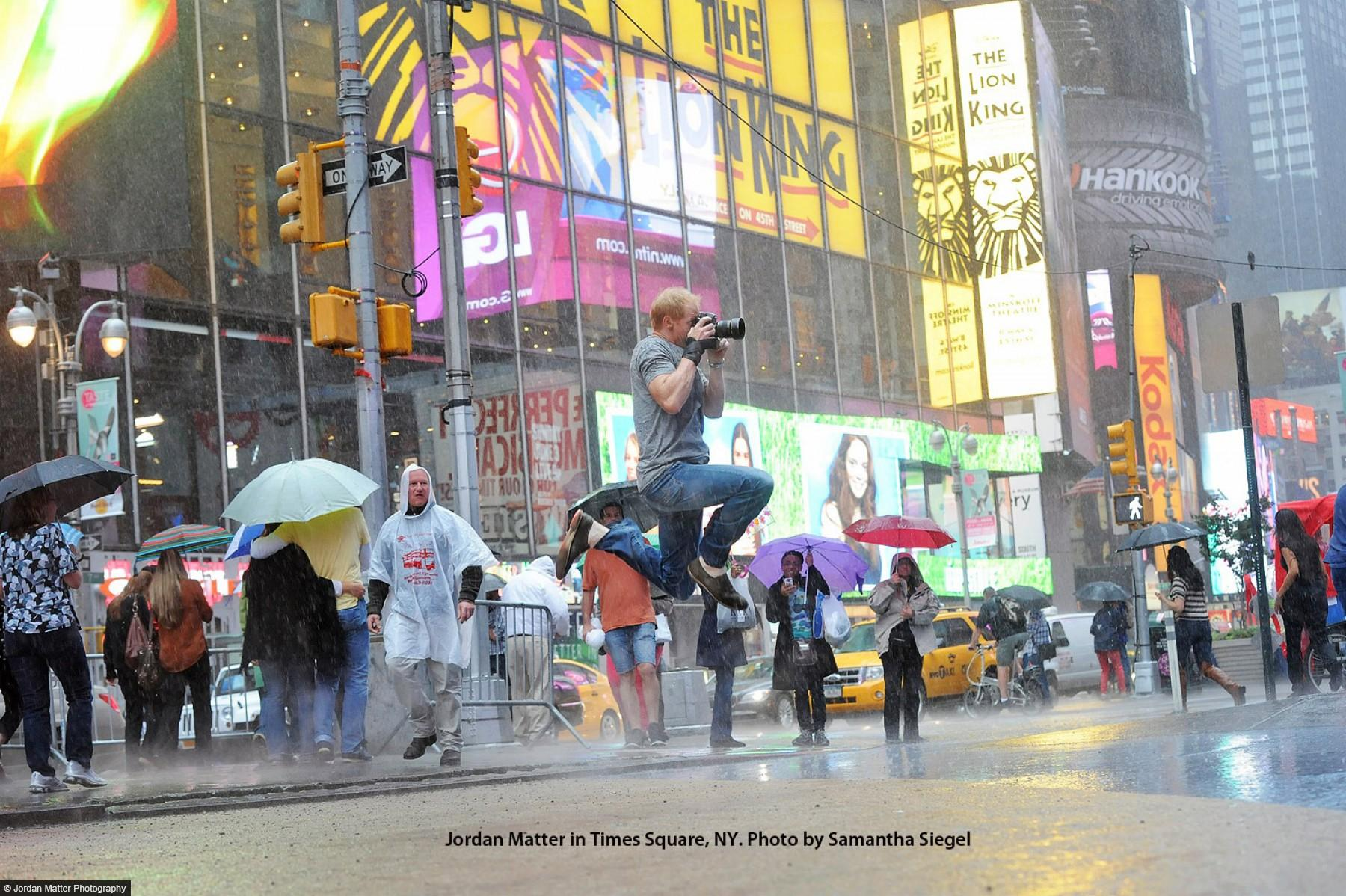 Author photo of Jordan Matter in Times Square by Samantha Siegel